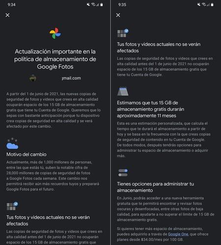Cambio Politica Almacenamiento Google Fotos