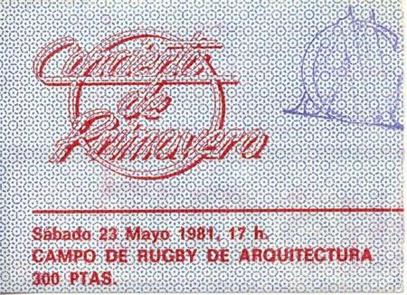 La entrada del Concierto de Primavera de 1981