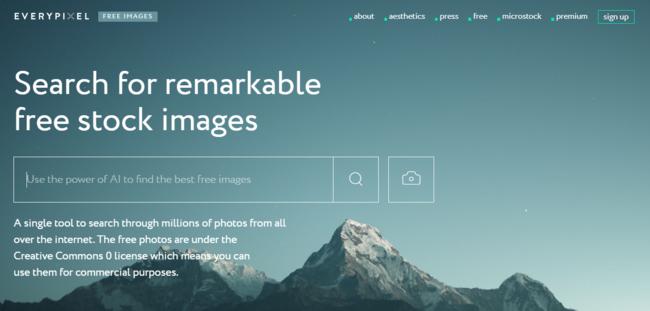 Everypixel es un excelente buscador de fotos de stock gratis y de pago potenciado por IA