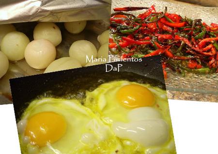 Cebollitas al horno con huevos fritos