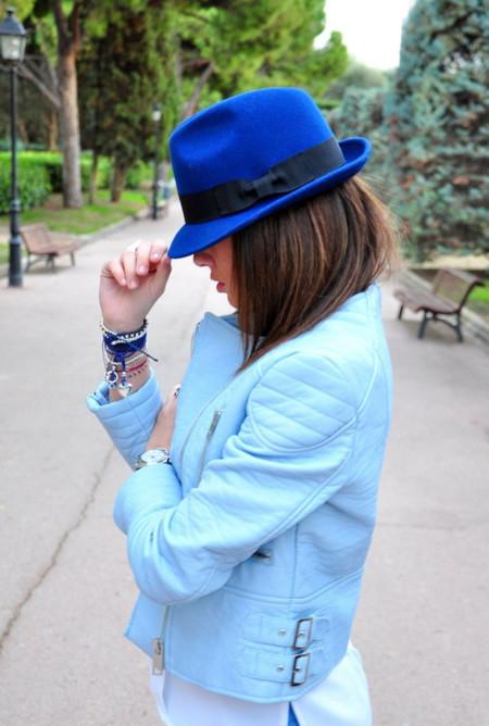 chaqueta zara biker azul cielo