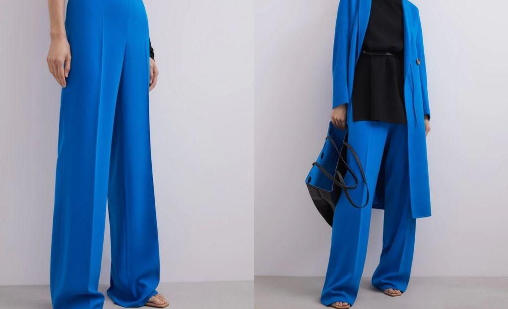 Pantalón ancho de mujer con cierre de cremallera invisible