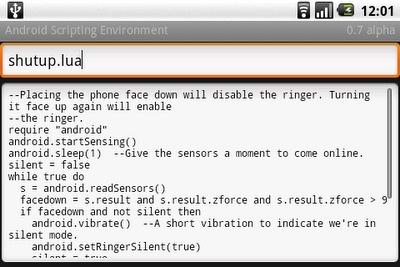 Android Scripting Environment, programa con scripts