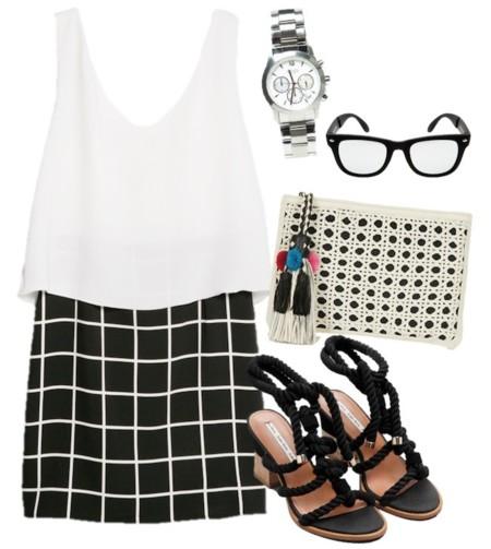 vestido en blanco y negro 2014