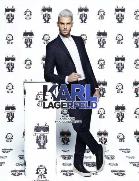 Baptiste Giabiconi (teñido de gris) de nuevo frente al objetivo de Karl Lagerfeld