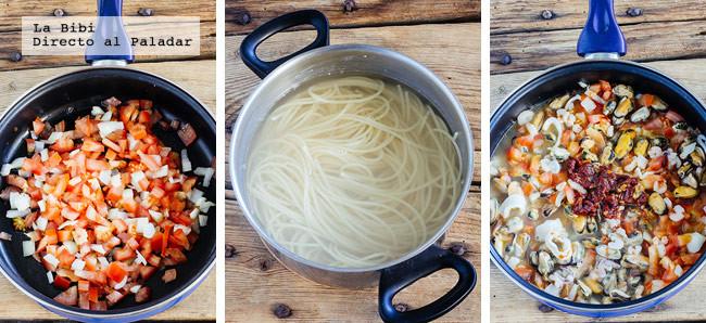 Spaghetti Mariscos Chipotle Receta