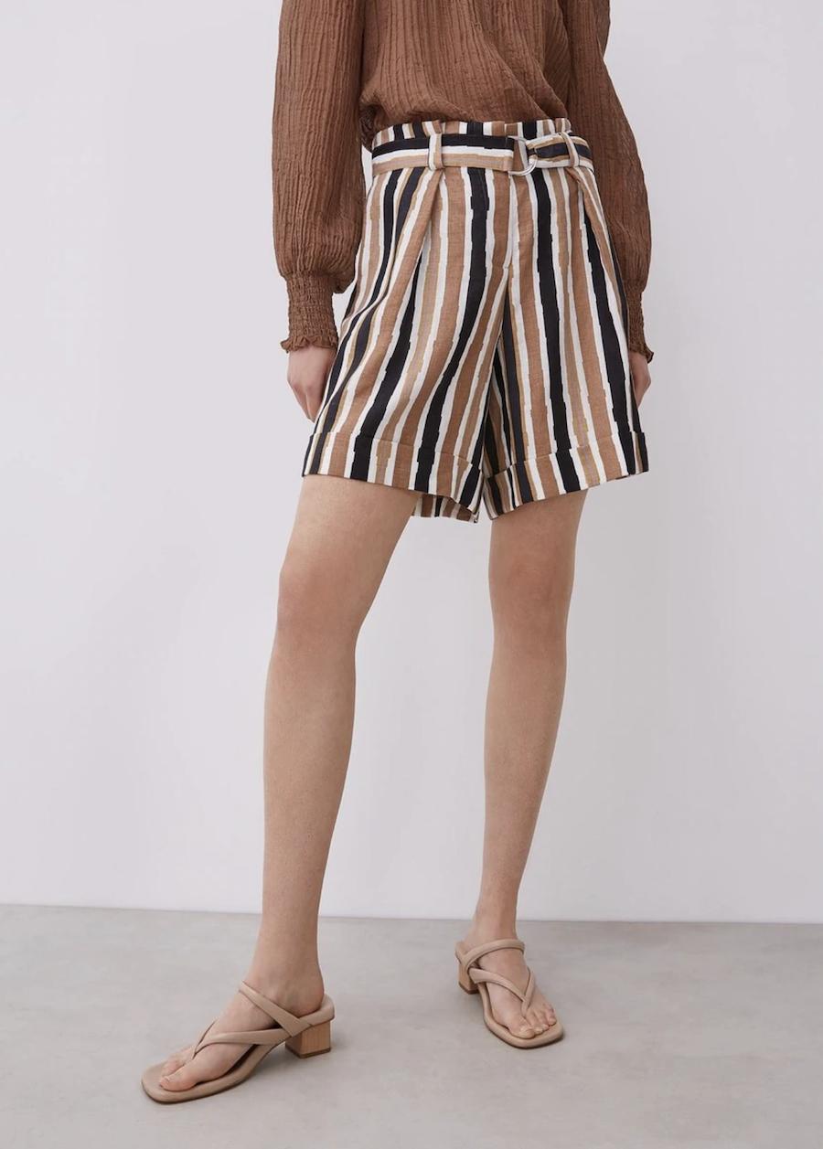 Bermuda de mujer 100% lino con estampado de rayas