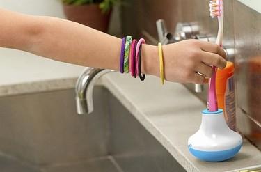 Soporte con temporizador para el cepillo de dientes