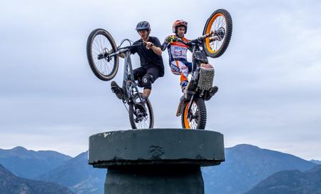 ¡Festival de acrobacias! Toni Bou compite en este vídeo con su Montesa de trial contra una bici de montaña
