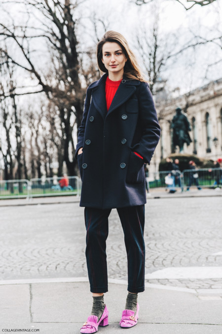 Pfw Paris Fashion Week Fall 2016 Street Style Collage Vintage Andreea Diaconu Gucci Pink Shoes 1