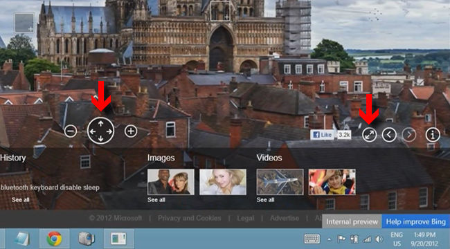 Bing, controles de zoom y desplazamiento