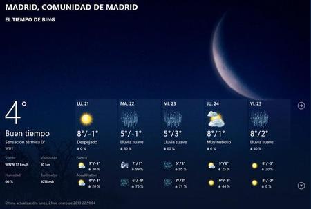 Aplicación El Tiempo en Windows 8, para que no te dejes el paraguas cuando vaya a llover
