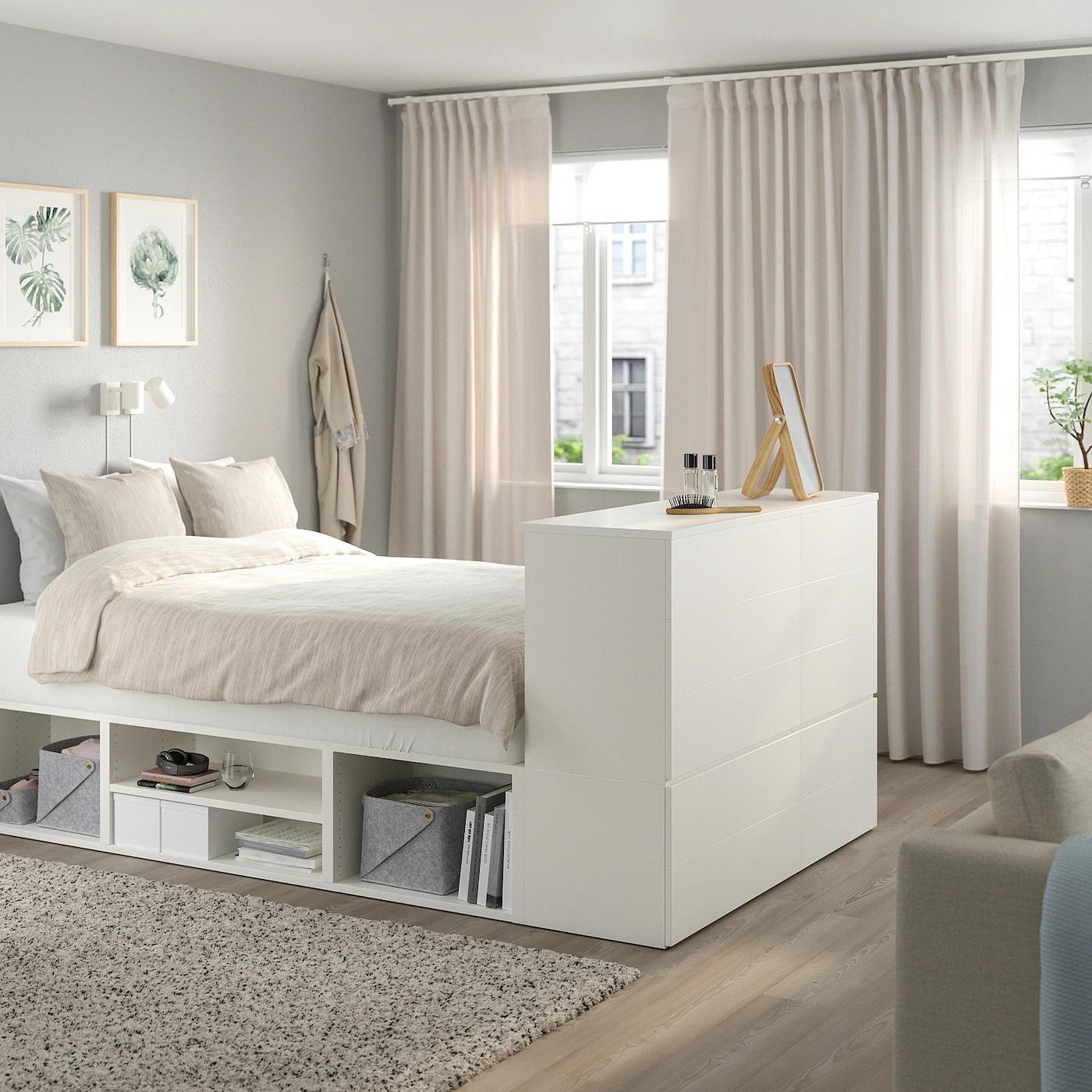 PLATSA Estructura de cama blanca con 10 cajones