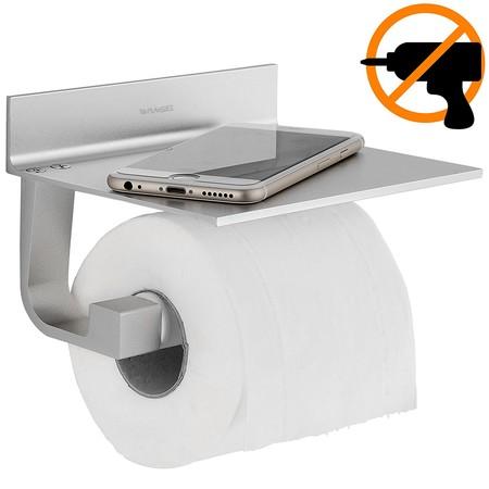 Portarrollos de papel higiénico Wangel adhesivo con soporte para móvil por 15,99 euros en Amazon