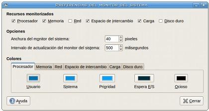 Monitor del Sistema en Gnome