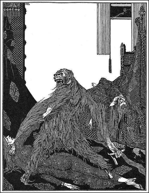 Ilustración de Harry Clarke para 'Asesinato en la calle Morgue' de Edgar Allan Poe