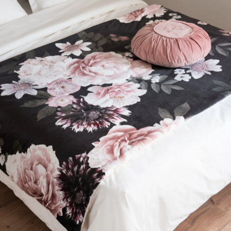 Cubrecamas De Algodon Rosa Y Negro Con Estampado Floral