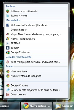 La última Dev release de Chrome añade Jump Lists en Windows 7
