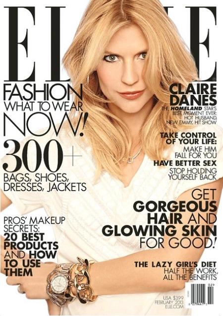 Claire Danes y su cara de loca en la portada de Elle