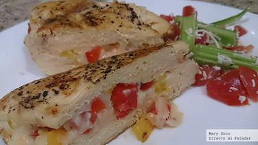 Pechugas rellenas de queso y pimientos. Receta de Primavera