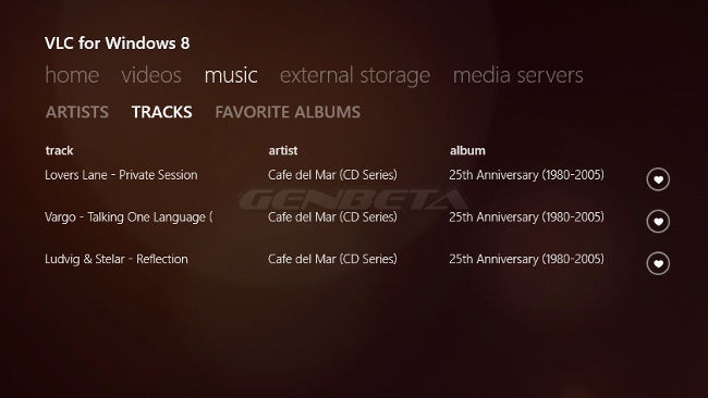 VLC para Windows 8, listas de canciones