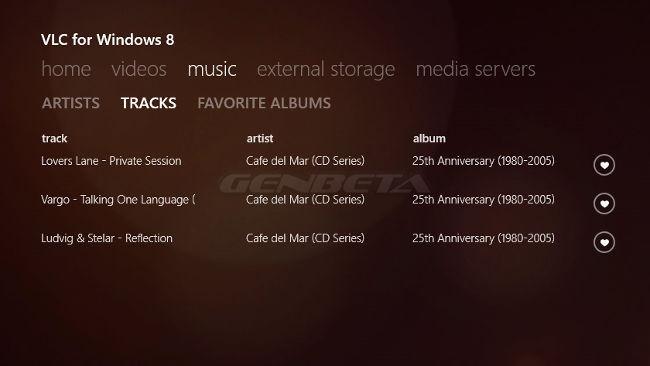 VLC para Windows 8, listas de canciones