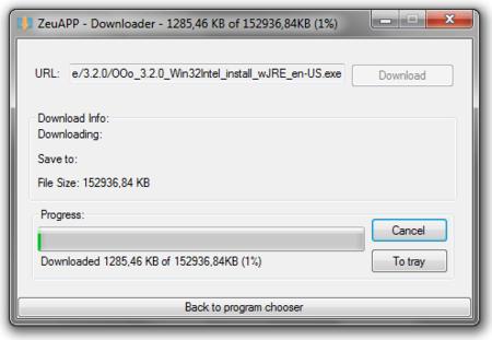 Descargando OpenOffice con ZeuApp