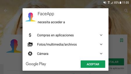 Permisos Faceapp