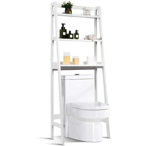 Toilet Shelf with 3 Shelves Bathroom Cabinet Shower Shelf 64x32x161 centimeters for Washing Machine or Toilet White Color