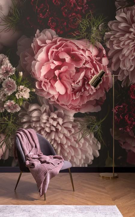 Papel Pintado Fotografico 3d Flores Rosa En Fondo Negro Lifestyle Image