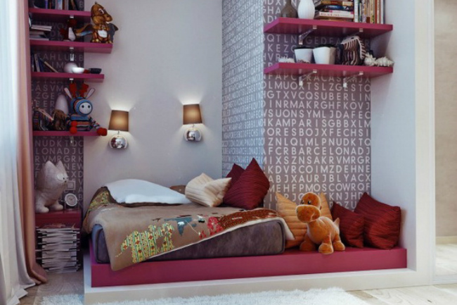 Dormitorio juvenil en magenta y gris
