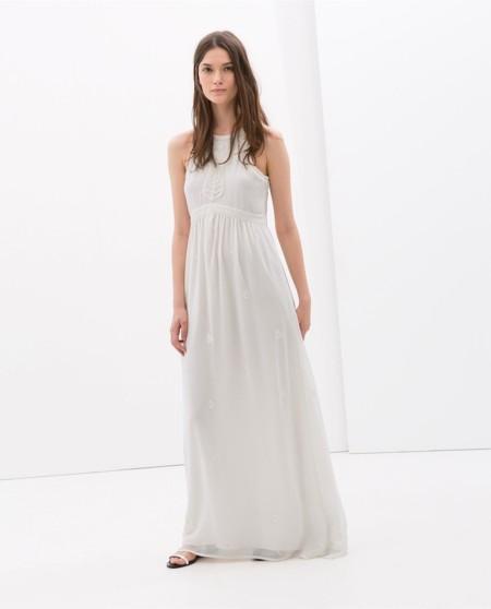 Vestido largo bordado Zara