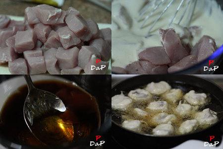 Hacer buñuelos de cerdo con salsa de miel y soja