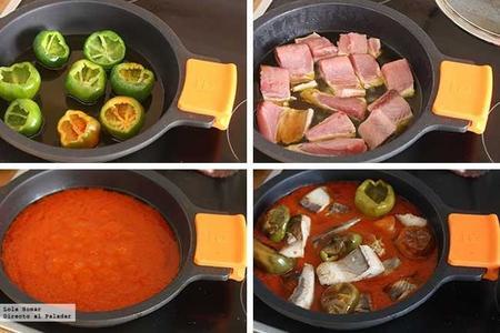Bonito con tomate y pimientos de bola paso a paso