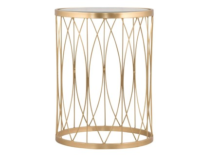 Hawke Geometric Glass Side Table Brass