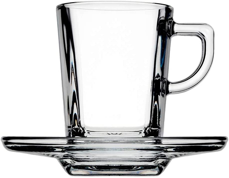 Juego de tazas y platos de vidrio