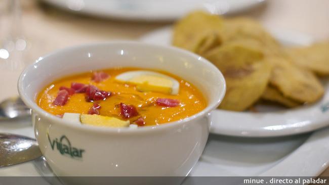 Restaurante villalar - Salmorejo y berenjena frita