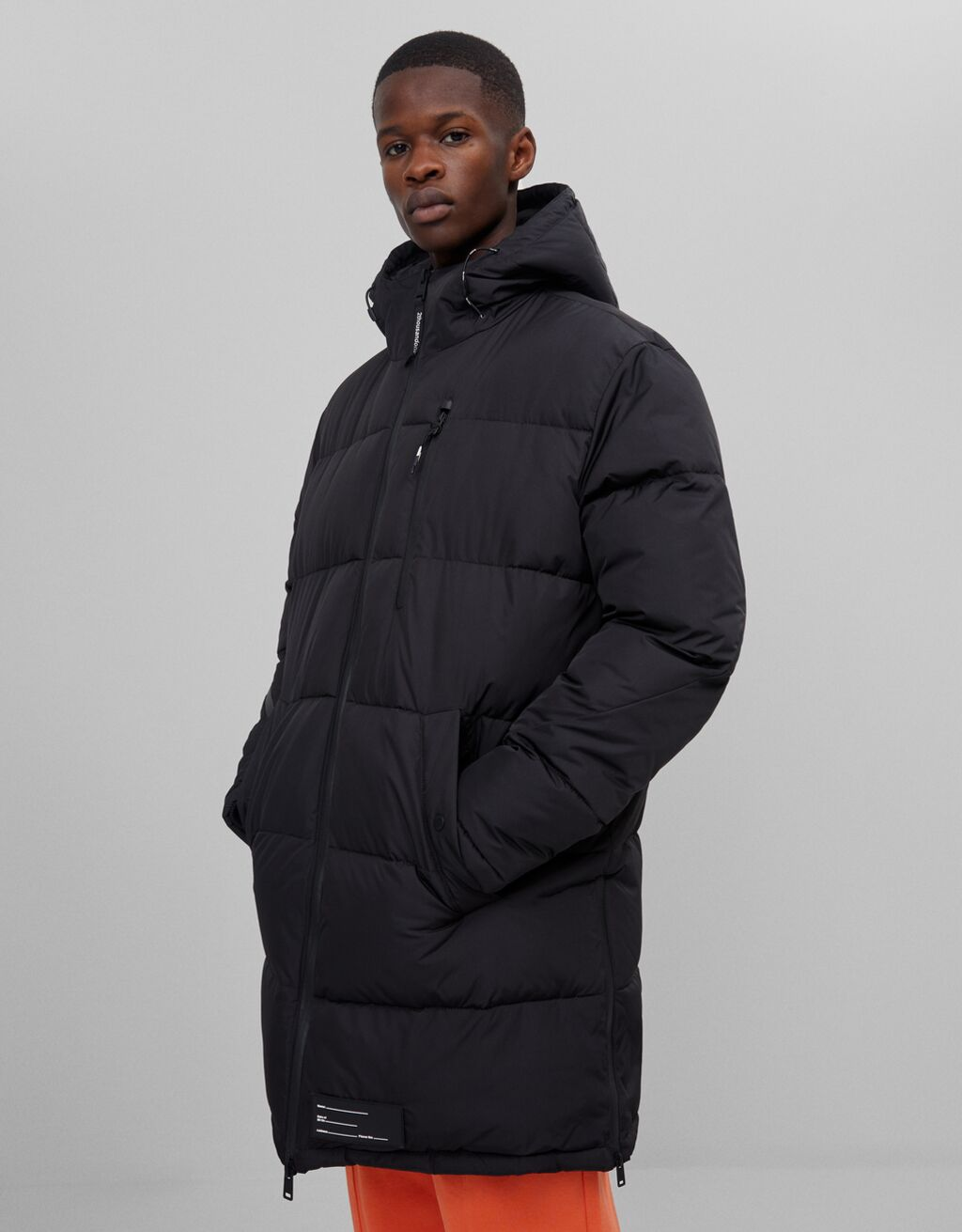 Abrigo puffy largo color negro