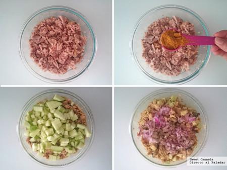 Preparacion Atun Al Curry con Manzana y Pasas