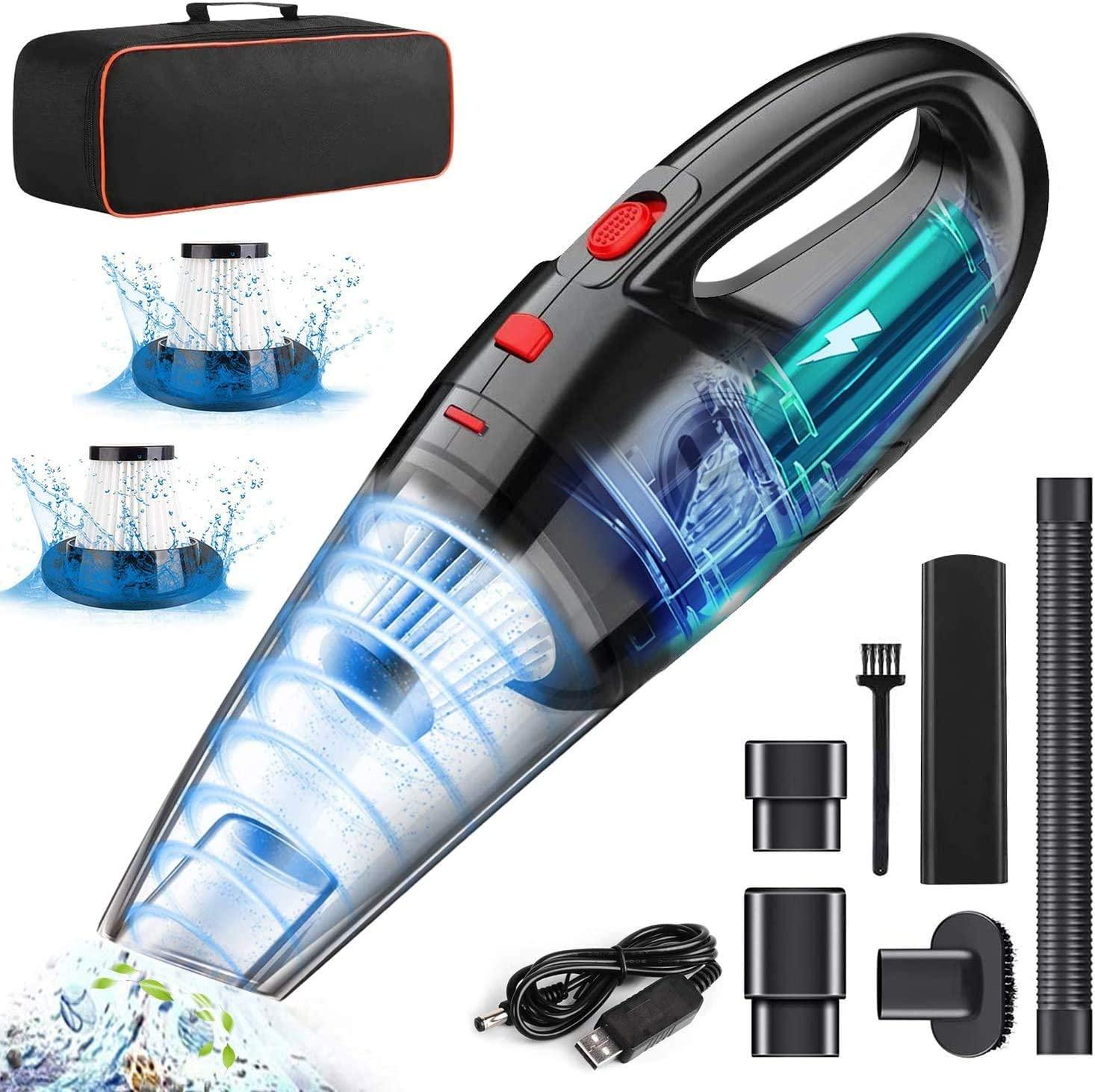 LETTURE - Aspiradora de Mano sin cable con 2 filtros lavable y batería recargable por USB