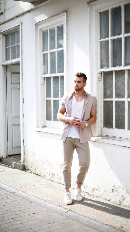 Beige White Men Street Style Spring Summer 2020 Trendencias Hombre 07