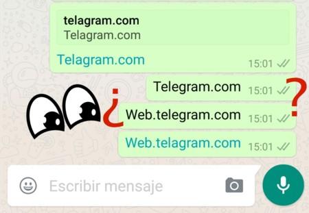 WhatsApp censura la previsualización y enlace de URLs que contienen la palabra Telegram
