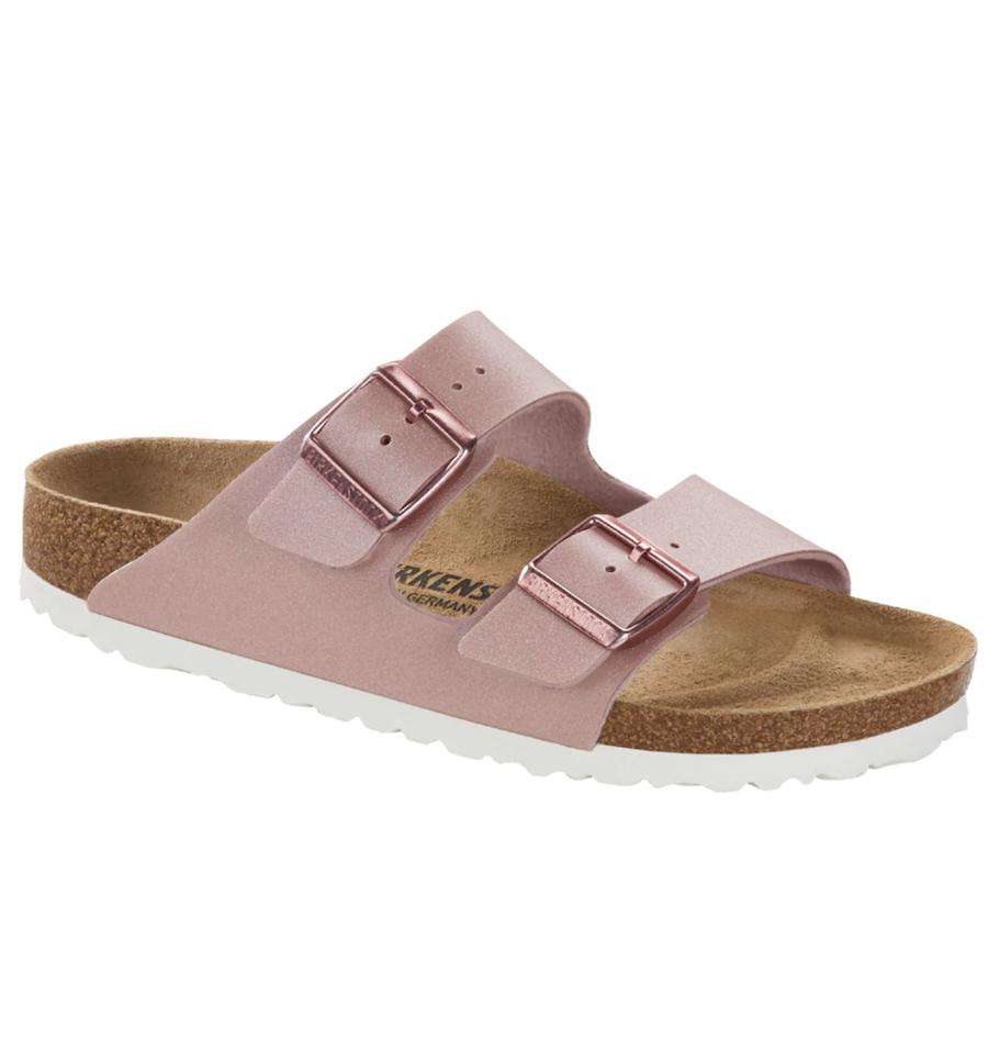 Sandalias planas de mujer Birkenstock de color rosa con doble hebilla