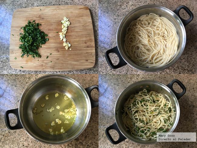 Espagueti Aglio Olio Pasos
