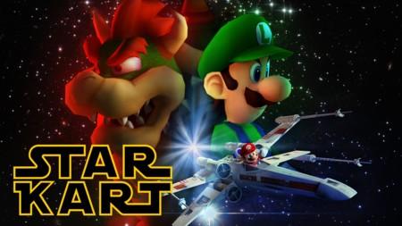 Así de espectacular es  Mario Kart con las naves y planetas de Star Wars