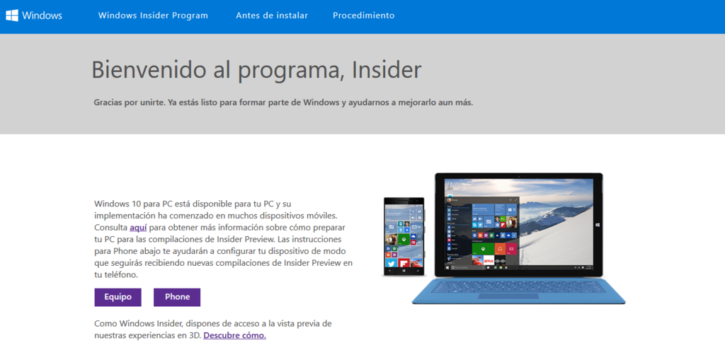Configurar El Equipo Windows® Insider Program