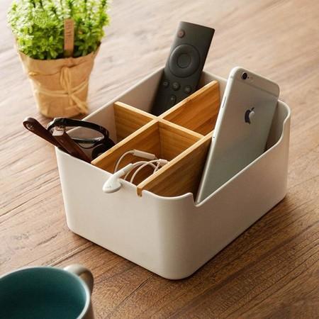 Caja De Almacenamiento OUNONA - Organizador de Escritorio Multiusos con Caja de Almacenamiento, Soporte para Mando a Distancia