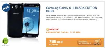 Samsung Galaxy S III Black Edition 64 GB aparece a la venta en Italia