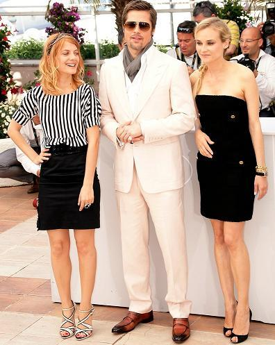 Brad Pitt y Diane Kruger en el photocall de Inglourious Basterds