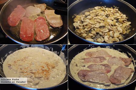 Receta de filetes de lomo de cerdo en salsa de champiñones con queso brie. Pasos